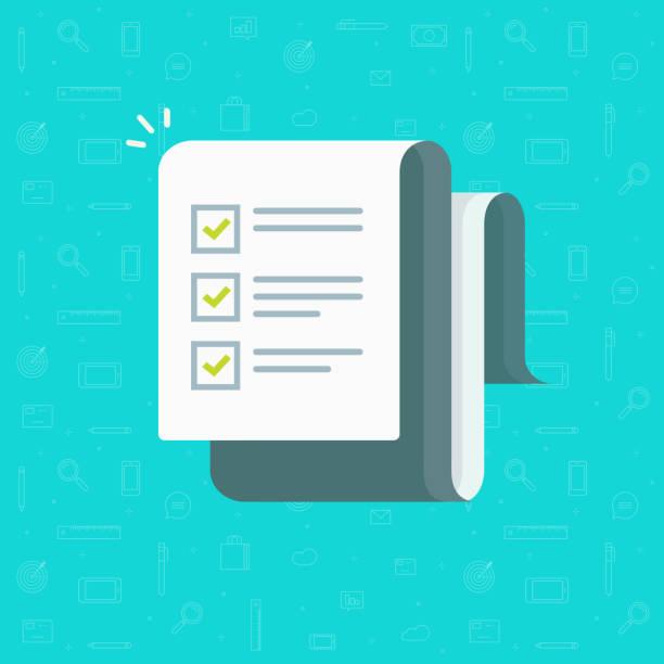 ilustraciones, imágenes clip art, dibujos animados e iconos de stock de ilustración de vector de lista de verificación, hoja de papel de dibujos animados con completa lista de marcas de verificación, idea del informe de retroalimentación, investigación de éxito, forma de prueba de encuesta o cuestionario, evaluar o documento de evaluación - tareas domésticas