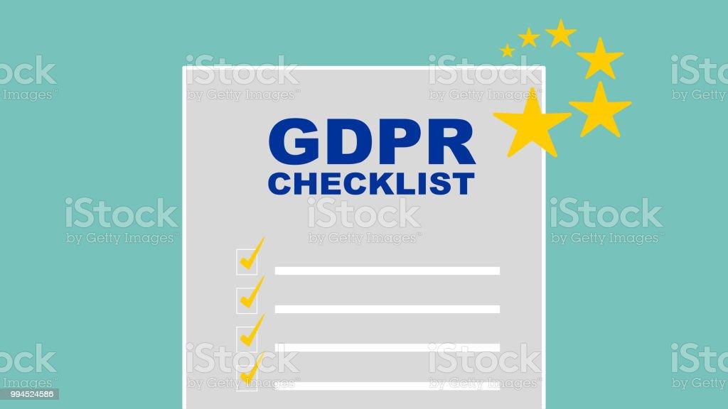 GDPR Checklist Vector vector art illustration
