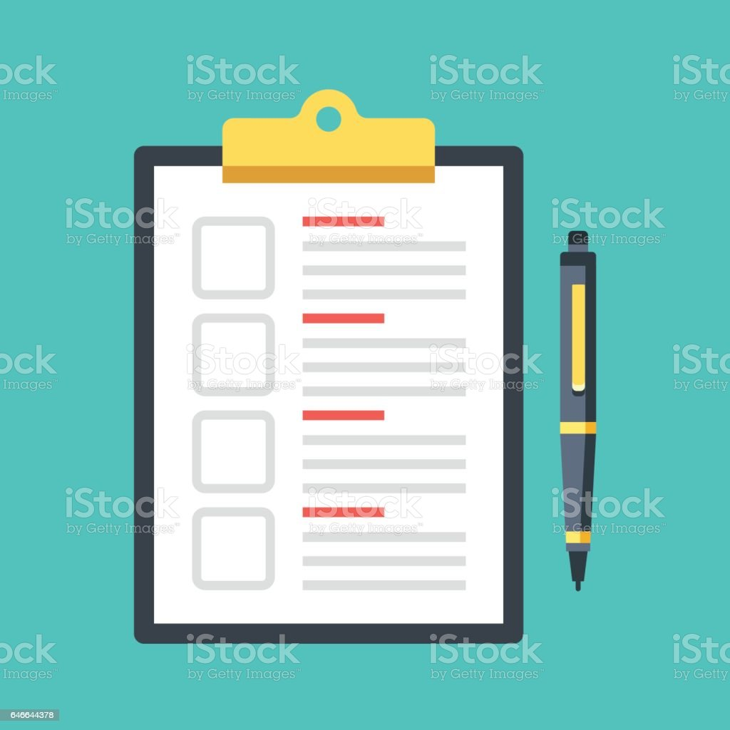 Checklist with checkboxes and pen. Clipboard with document and check boxes. Top view. Modern flat design graphic elements. Vector illustration vector art illustration