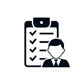 Checklist with man silhouette icon, candidate approved symbol. Positive mark symbol. Vector illustration isolated on white