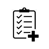 Checklist with medicine plus. Vector isolated icon. Medicine checklist report. Clipboard icon business agreement checkbox list. Health care. Checklist clipboard. Vector medicine illustration.
