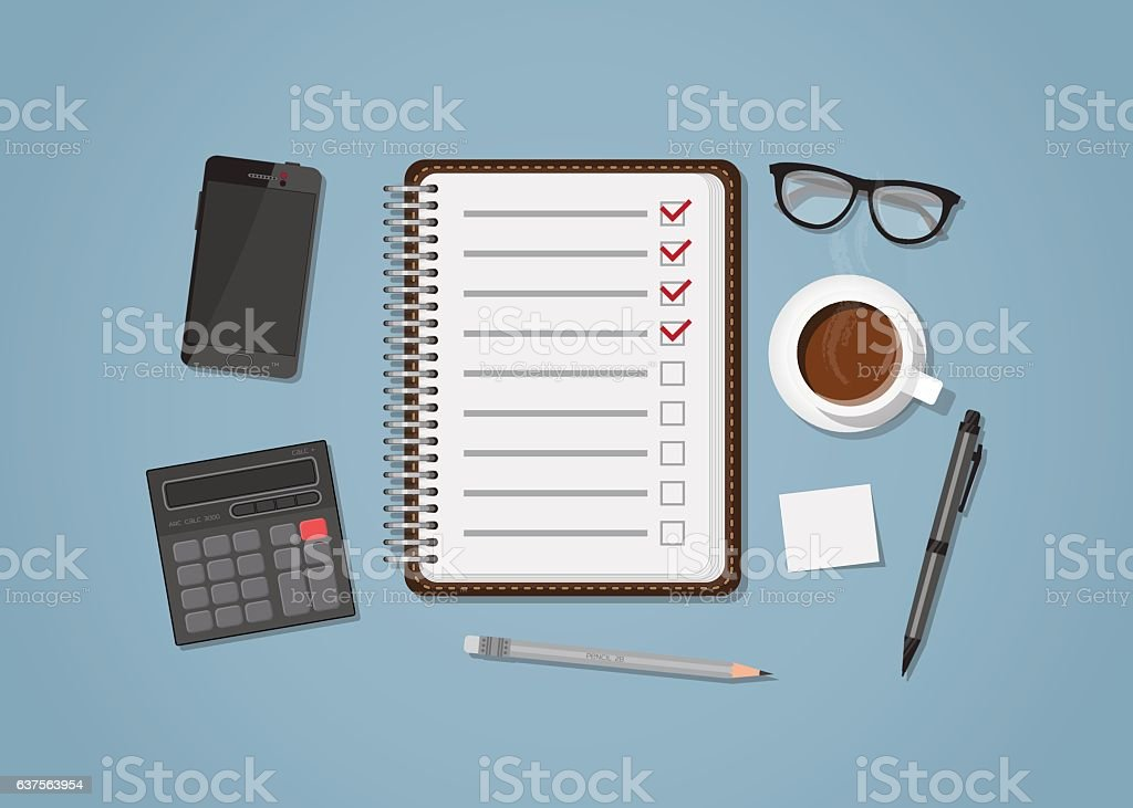 Checklist with office items vector art illustration