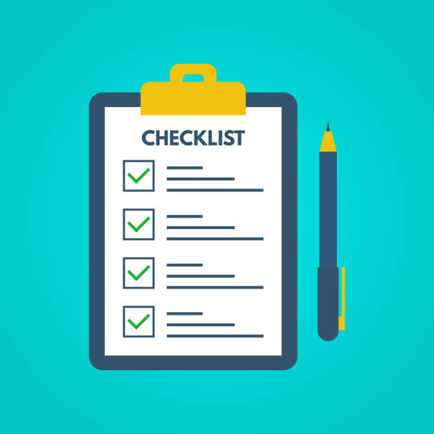 Checklist with tick marks in a flat style. Questionnaire on a clipboard paper. Successful completion of business tasks. Checklist, tasks, to-do list, survey, exam concepts. Vector illustration Checklist with tick marks in a flat style. Questionnaire on a clipboard paper. Successful completion of business tasks. Checklist, tasks, to-do list, survey, exam concepts. Vector illustration. checklist stock illustrations
