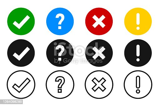Checkmark cross exclamation and question icon. Vector element collection. Sign symbol set. EPS 10.