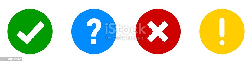 Checkmark cross exclamation question vector icon. Circle isolated sign symbol.