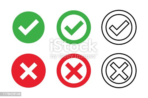 Checkmark cross on white background. Isolated vector sign symbol. Checkmark icon set. Checkmark right symbol tick sign. Flat vector icon. Test question. EPS 10