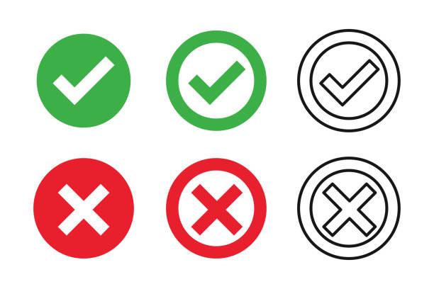 ilustrações, clipart, desenhos animados e ícones de cruz da marca de verificação no fundo branco. símbolo isolado do sinal do vetor. jogo do ícone da marca de verificação. sinal direito do tiquetaque do símbolo do checkmark. ícone liso do vetor. pergunta de teste. - em êxtase