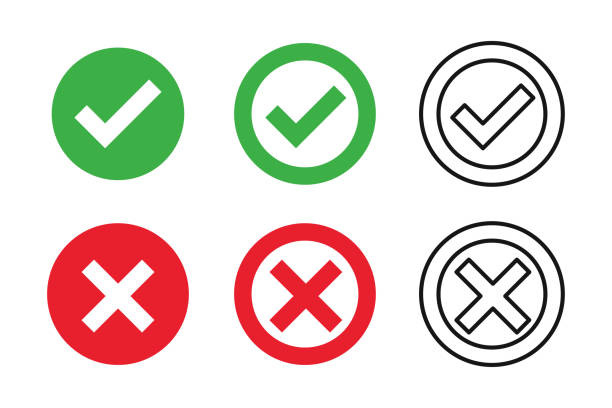Checkmark cross on white background. Isolated vector sign symbol. Checkmark icon set. Checkmark right symbol tick sign. Flat vector icon. Test question. Checkmark cross on white background. Isolated vector sign symbol. Checkmark icon set. Checkmark right symbol tick sign. Flat vector icon. Test question. EPS 10 excited stock illustrations