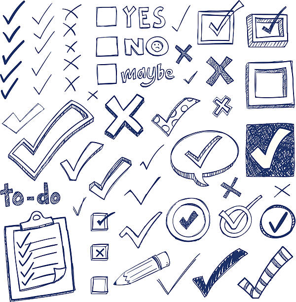 stockillustraties, clipart, cartoons en iconen met checkmark doodles - potloodtekening