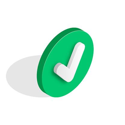 Checkmark isometric icon