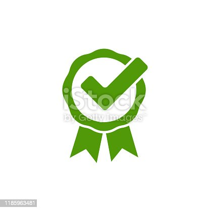 checkmark symbol print green icon in flat style, vector