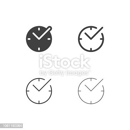 Checkmark Time Icons Multi Series Vector EPS File.
