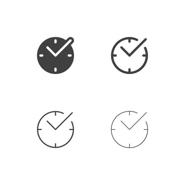 Checkmark Time Icons - Multi Series Checkmark Time Icons Multi Series Vector EPS File. clock stock illustrations