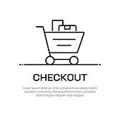 Checkout Vector Line Icon - Simple Thin Line Icon, Premium Quality Design Element