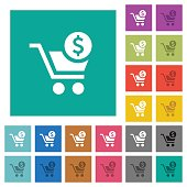 Checkout with Dollar cart square flat multi colored icons