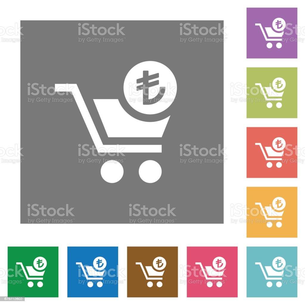 Checkout with Lira cart square flat icons 免版稅 checkout with lira cart square flat icons 向量插圖及更多 付錢 圖片