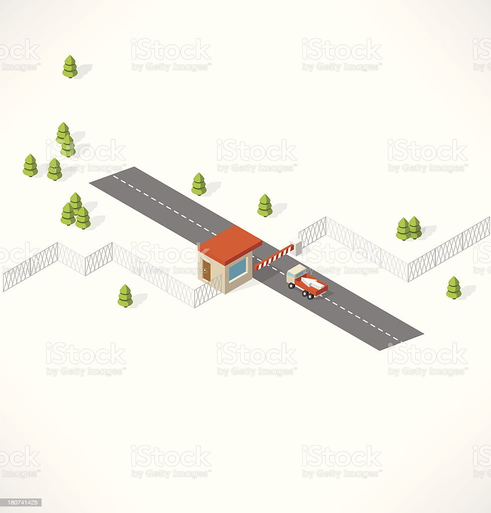 Checkpoint on the road. Isometric building. royalty-free checkpoint on the road isometric building stock vector art & more images of abstract