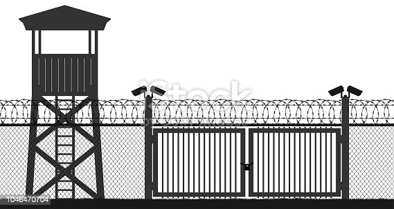 Checkpoint, prison tower, protection territory, watchtower, state border,military base. Street camera on the pillar. Block post, gate. Fence wire mesh barbed wire, seamless vector silhouette