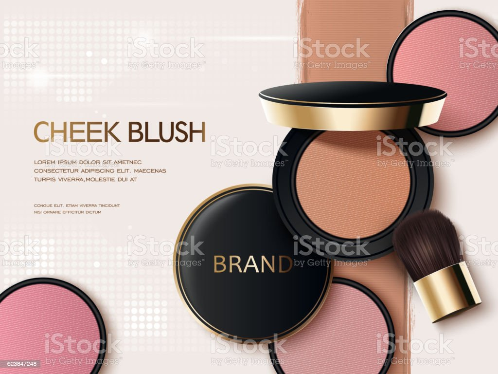 Cheek blush ads vector art illustration