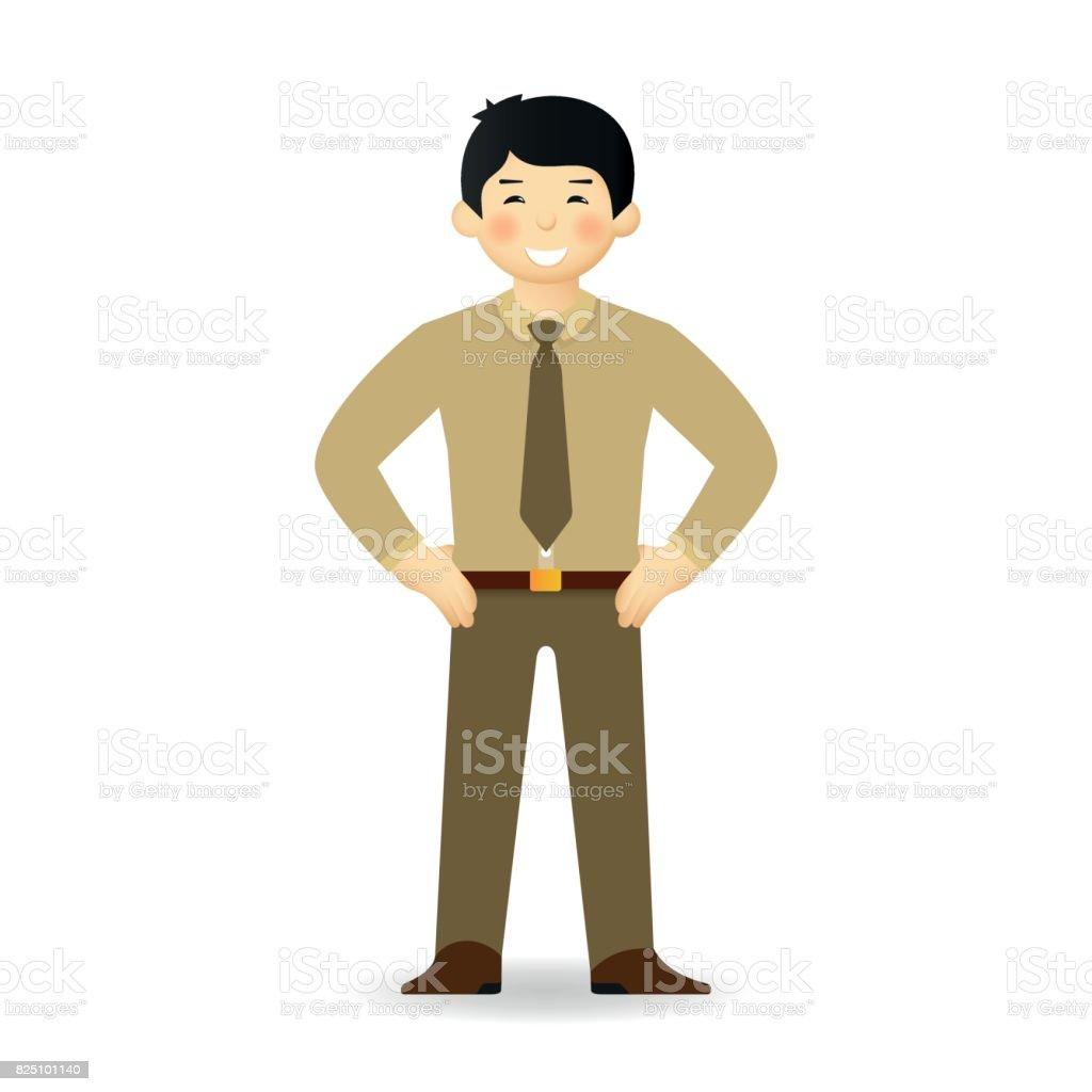 Homme asiatique coquine en costume d'affaires posant. Debout, les mains derrière. - Vectoriels