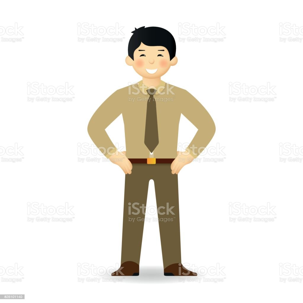 Cheeky asian man in sweater and shirt posing. Bossy gesture. vector art illustration