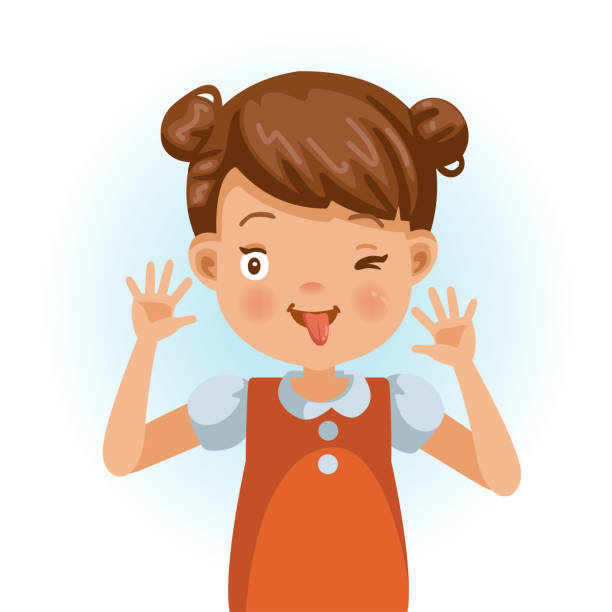 ilustrações de stock, clip art, desenhos animados e ícones de cheeky little girl - puxar cabelos
