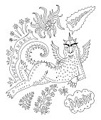 A cheeky lying fat dragon woman in bicycle gloves, with insane eyes and an arrogant smile, saying meow. Linear cartoon black sketch on a white background. Tee-shirt print, adults coloring book page, poster, book cover