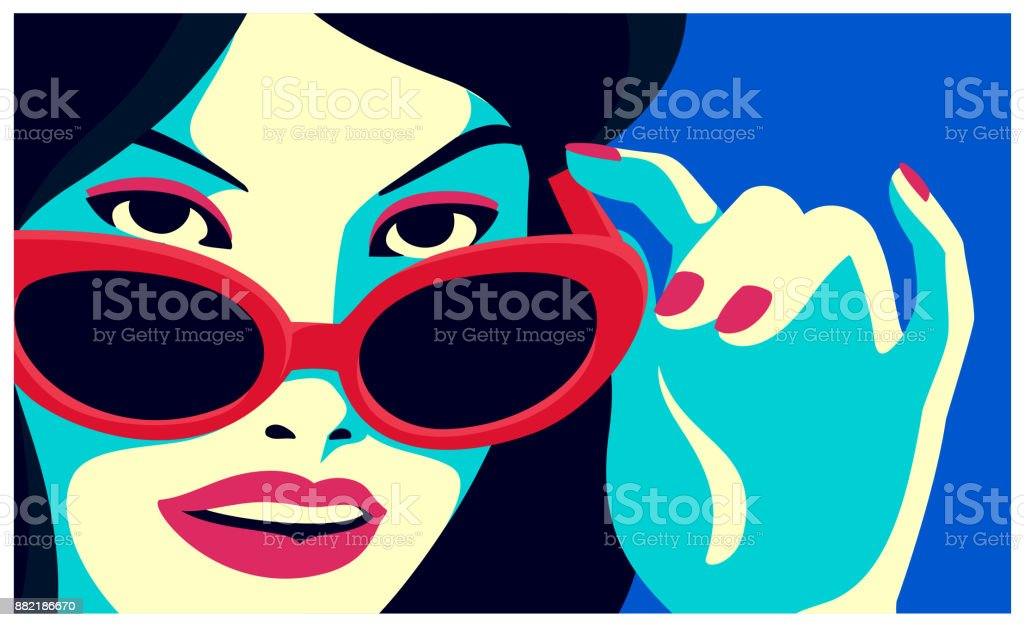 Cheeky woman peeking over sunglasses and smiling fashion minimal style flat design vector illustration vector art illustration