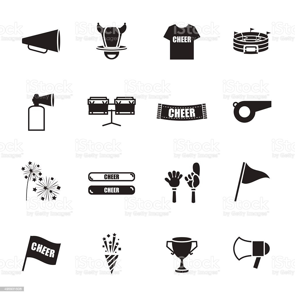 cheer equipment Sports icons set vector art illustration