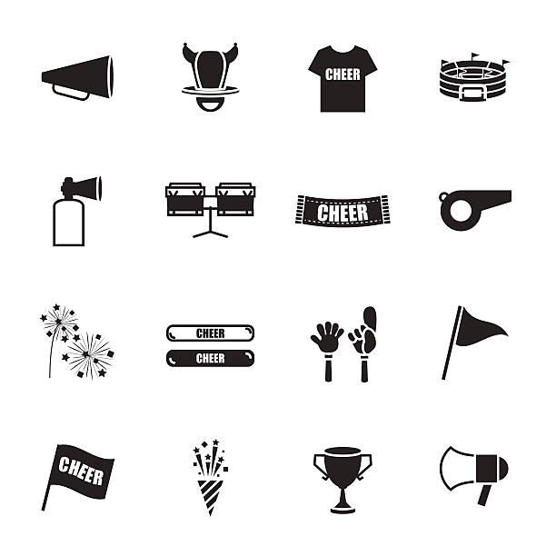 cheer equipment Sports icons set cheer equipment Sports icons set cheering stock illustrations