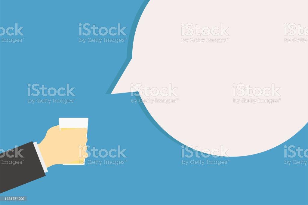 Cheer main tenant le verre avec de l'alcool et la phrase saind. Congratulation avec des boissons froides. Homme d'affaires célébrer. - clipart vectoriel de Admiration libre de droits