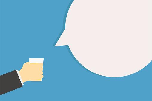 Cheer Main Tenant Le Verre Avec De Lalcool Et La Phrase Saind Congratulation Avec Des Boissons Froides Homme Daffaires Célébrer Vecteurs libres de droits et plus d'images vectorielles de Admiration