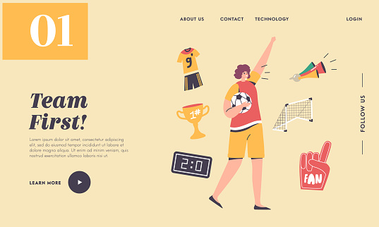 Cheer on Soccer Sport Match League Landing Page Template. Football Fan Girl Cheering for Team Victory and Success
