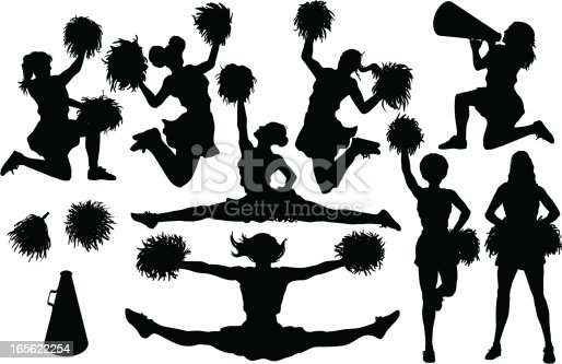 8 different cheer silhouettes plus pom poms and a bullhorn. Simple shapes for easy printing, separating and color changes. File formats: EPS and JPG