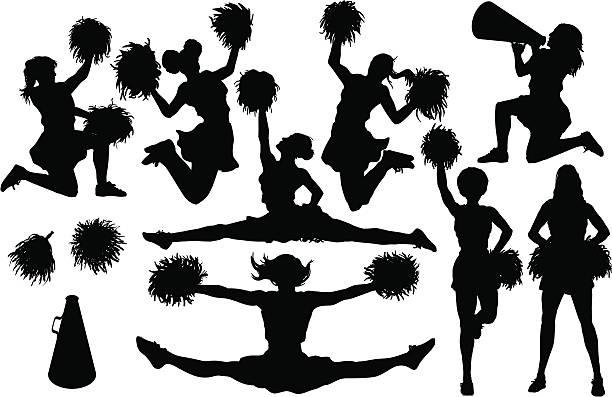 stockillustraties, clipart, cartoons en iconen met cheer silhouettes - pompon