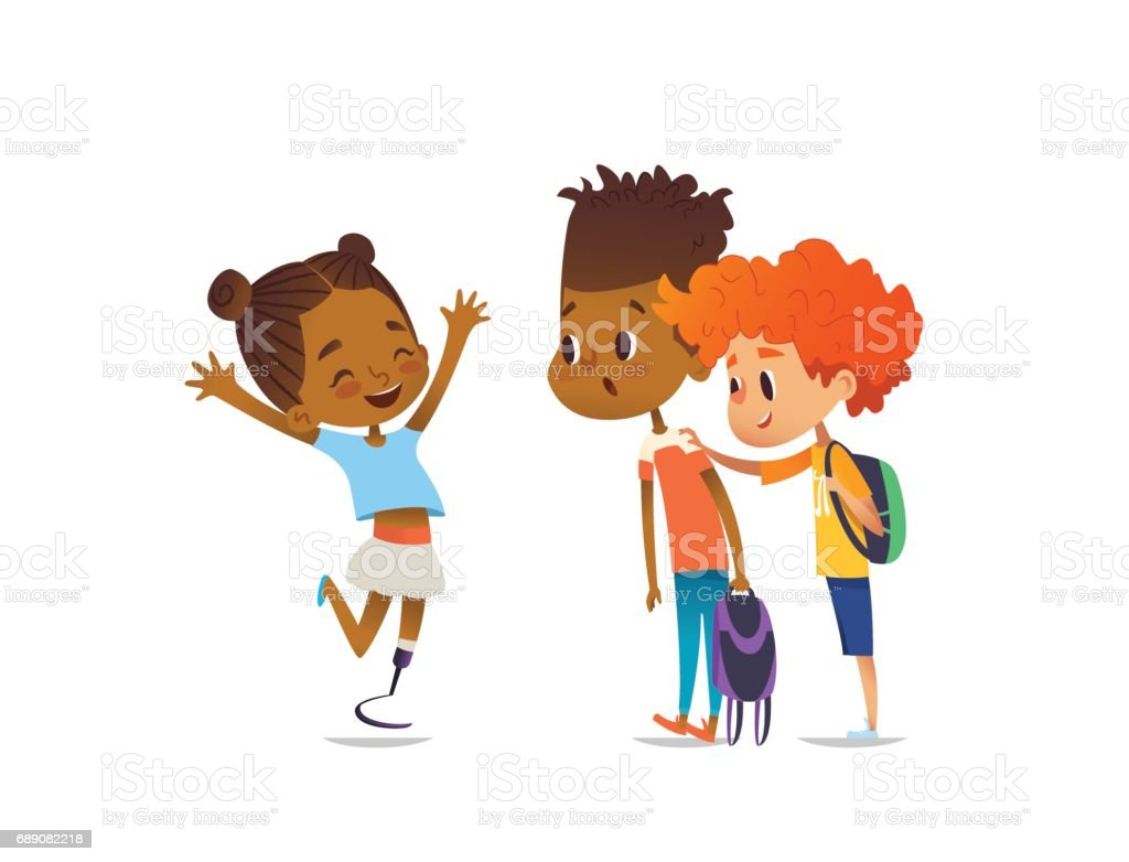 Cheerful amputee girl happily greet her school friends and shows them new artificial leg, two boys are surprised and happy. Welcome back concept. Vector illustration for website, social advertisement. vector art illustration