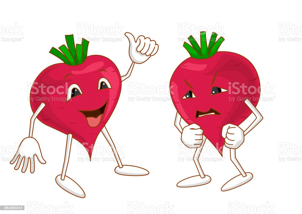 Cheerful and angry emotional vegetable vector art illustration