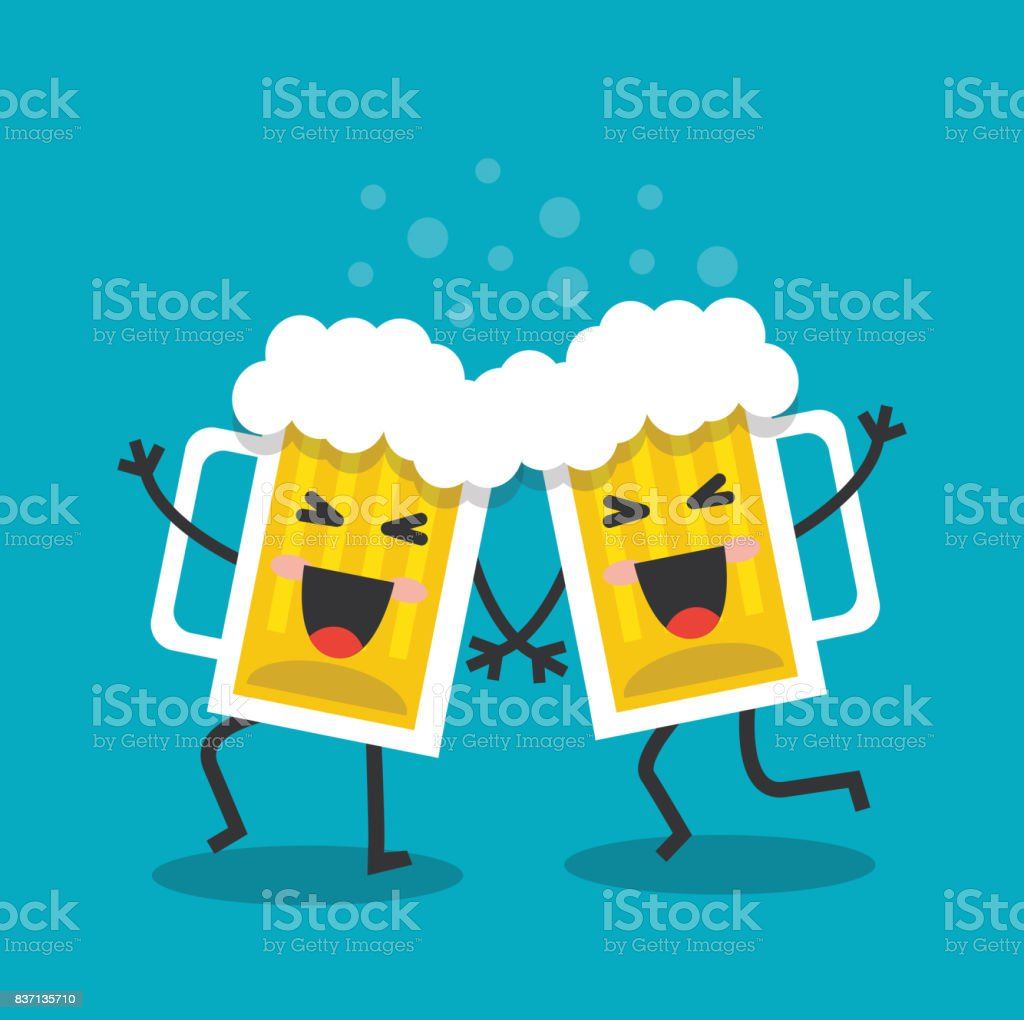 Cheerful and happy mugs with beer vector art illustration