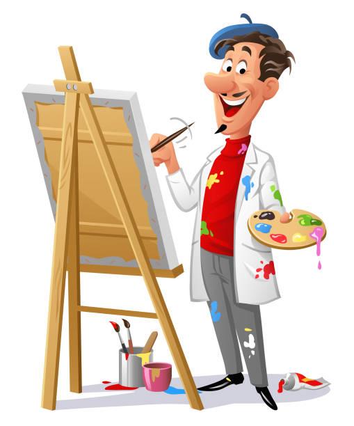 ilustraciones, imágenes clip art, dibujos animados e iconos de stock de cuadro de pintura un artista alegre - clase de arte