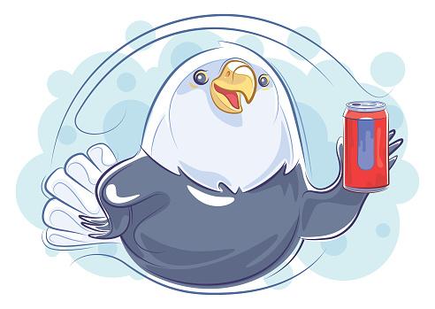 cheerful bald eagle holding soda can