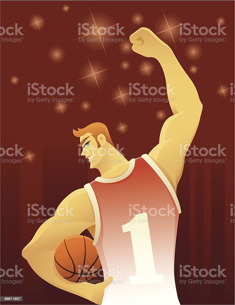 cheerful basketball player vector art illustration