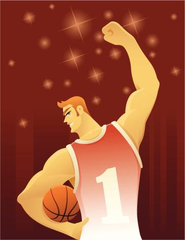 Веселый Баскетболист — стоковая векторная графика и другие изображения на тему Баскетбол
