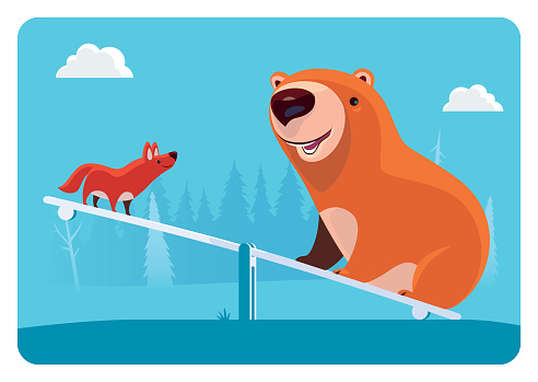 cheerful bear and wolf playing at seesaw