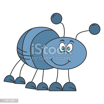 Cheerful beetle in cartoon style. Color drawing. Vector illustration
