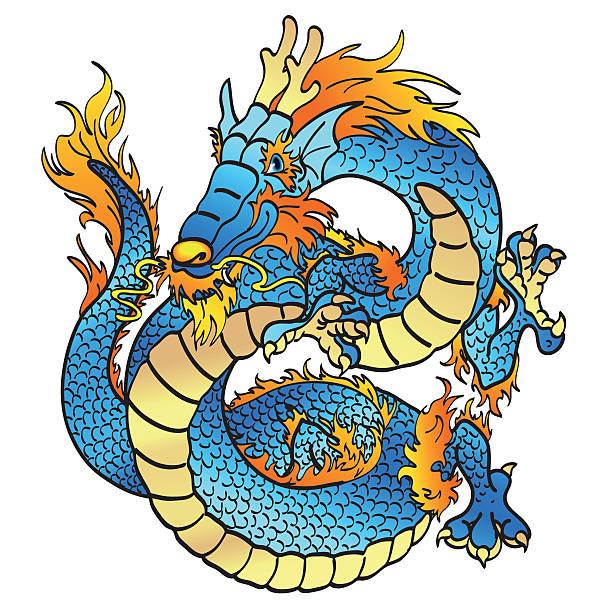 Bекторная иллюстрация Веселый азиатских голубой воды дракона на белом