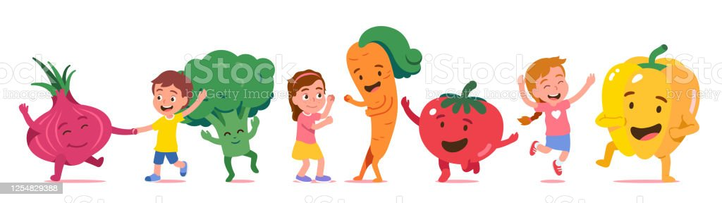 Cheerful Boy Girl Kids Animated Vegetables Cartoon Characters Dance Together Happy Children Fresh Organic Vegetable Having Fun Healthy Food Funny Concept Flat Vector Illustration Stock Illustration Download Image Now Istock