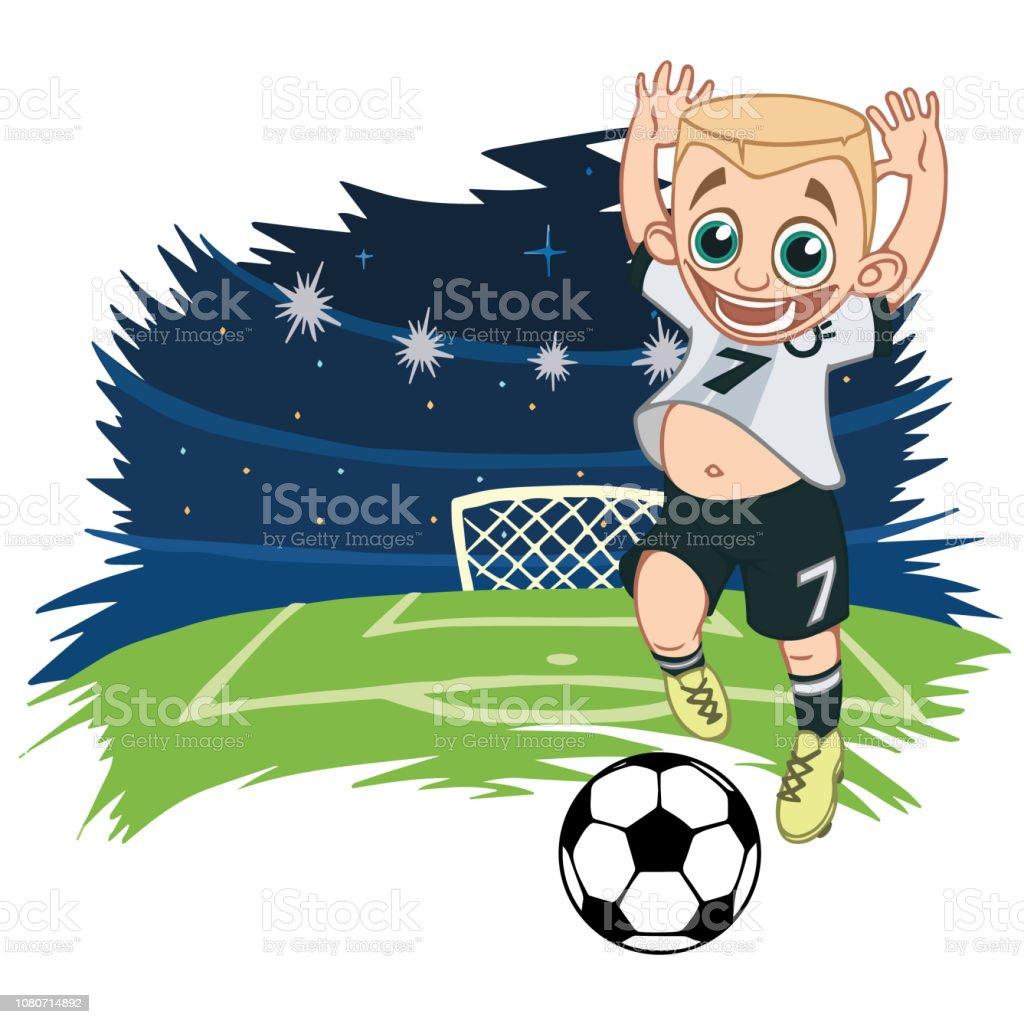 Frohliche Junge Sportswear Spielt Fussball Stock Vektor Art