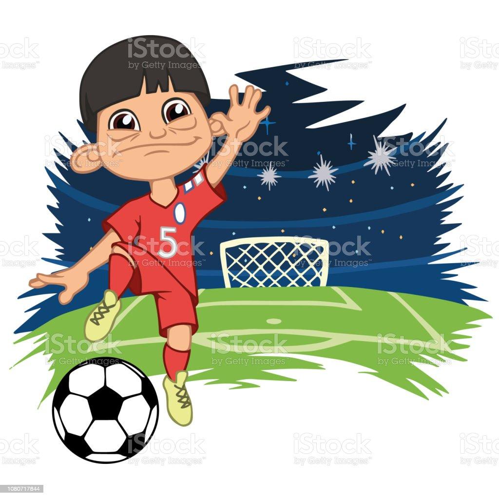 Frohliche Junge Sportswear Spielt Fussball Stock Vektor Art Und Mehr Bilder Von Clipart