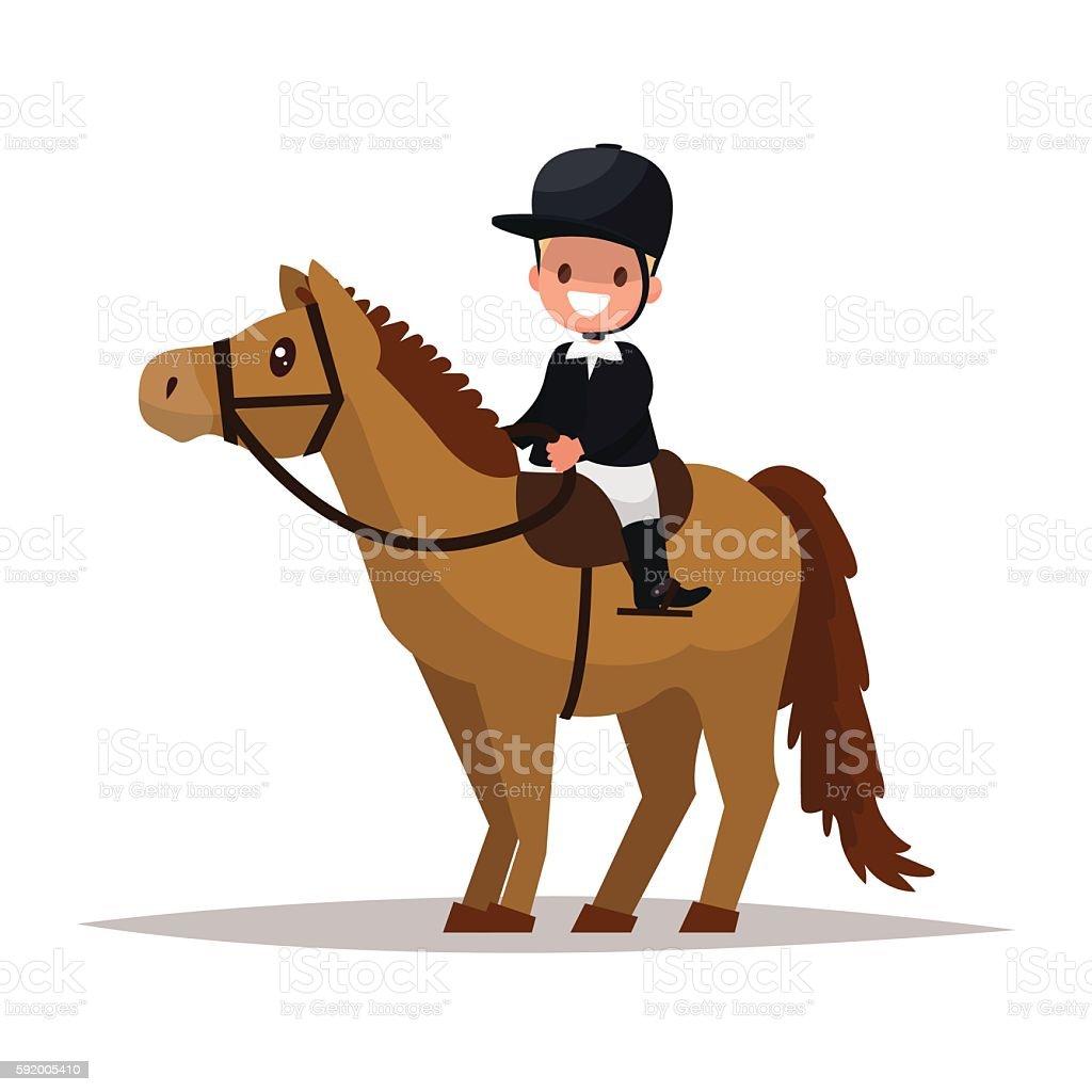 Cheerful boy jockey riding a horse. Vector illustration vector art illustration