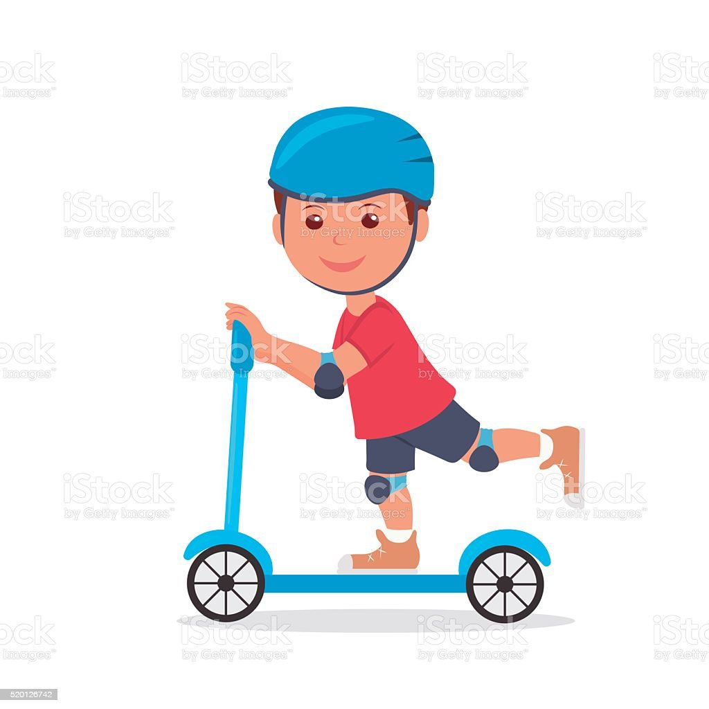 Cheerful boy riding a scooter. vector art illustration